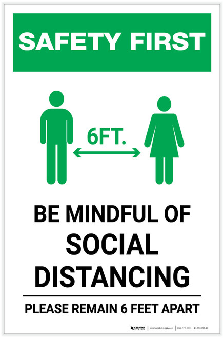 Safety First: Be Mindful of Social Distancing with Icon Portrait - Label