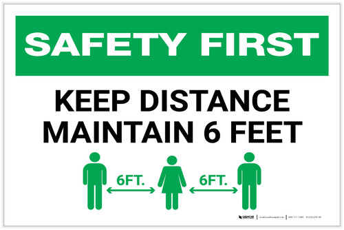 Safety First: Keep Distance Maintain 6ft with Icon Landscape - Label