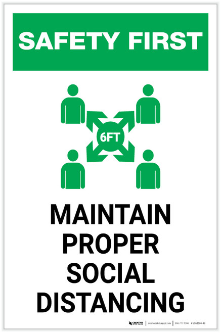 Safety First: Maintain Proper Social Distancing with Icon Portrait - Label