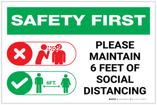 Safety First: Please Maintain 6 Feet of Social Distancing with Icons Landscape - Label