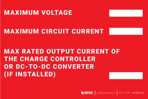 Maximum Voltage / Current Label