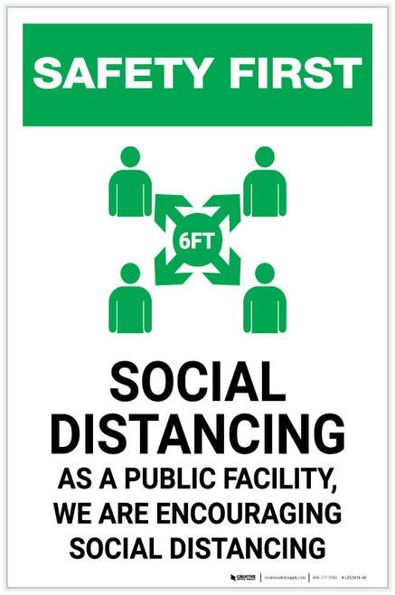 Safety First: Social Distancing as a Public Facility with Icon Portrait - Label