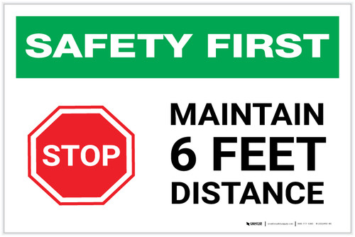 Safety First: Stop Maintain 6ft Distance with Icon Landscape - Label