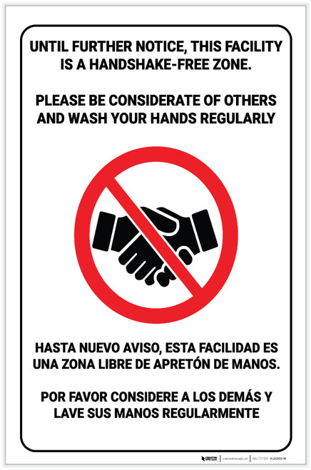 This Facility is a Handshake Free Zone Spanish Bilingual with Icon Portrait - Label
