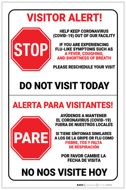 Visitor Alert - Help Keep Coronavirus Out of Our Facility with Stop Icon Bilingual Portrait - Label