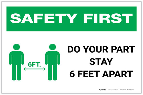 Safety First: Do Your Part Stay 6 Feet Apart with Icon Landscape - Label