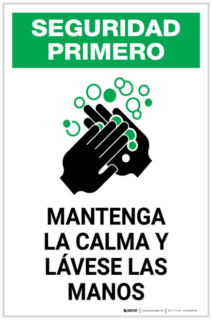 Safety First: Keep Calm and Wash Your Hands Spanish with Icon Portrait - Label