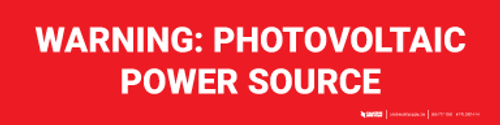 Warning: Photovoltaic Power Source Label