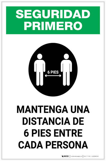 Safety First: Please Maintain A Distance Of 6 Feet Spanish with Icon Portrait - Label