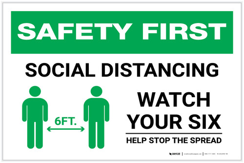 Safety First: Social Distancing Watch Your Six with Icon Landscape - Label