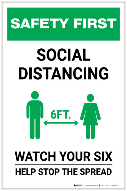 Safety First: Social Distancing Watch Your Six with Icon Portrait - Label