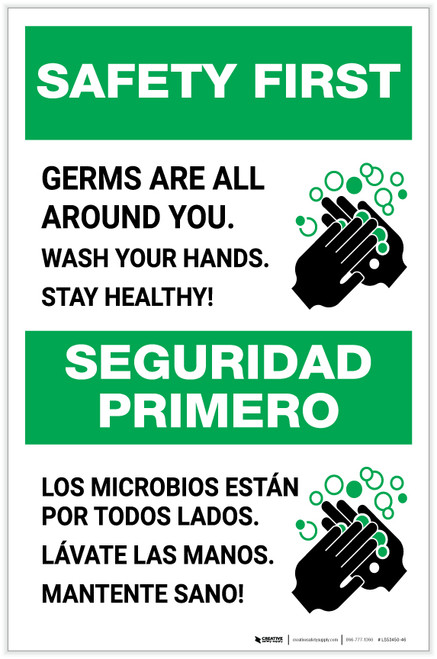 Safety First: Stay Healthy Wash Your Hands Bilingual with Icon Portrait - Label
