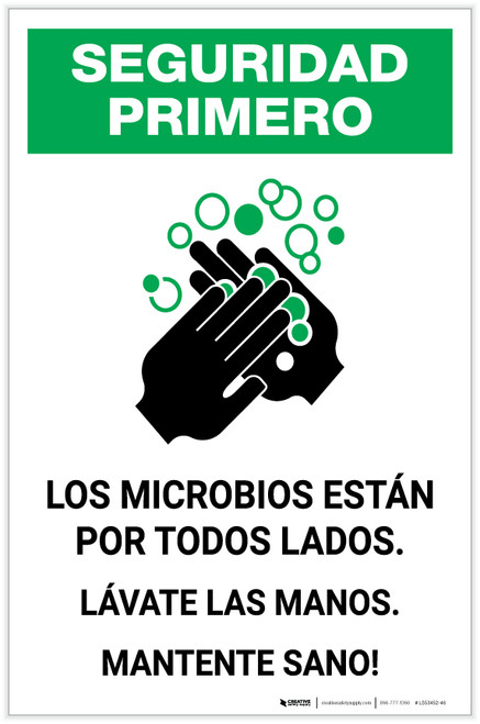 Safety First: Stay Healthy Wash Your Hands Spanish with Icon Portrait - Label