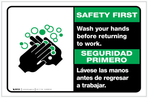 Safety First: Wash Hands Before Returning To Work Bilingual with Icon Landscape - Label