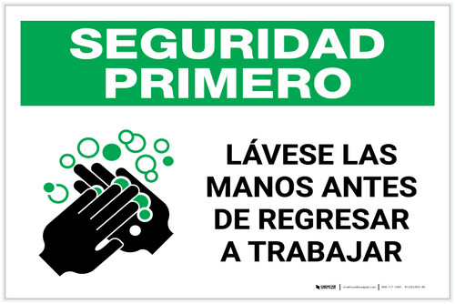 Safety First: Wash Hands Before Returning To Work Spanish with Icon Landscape - Label