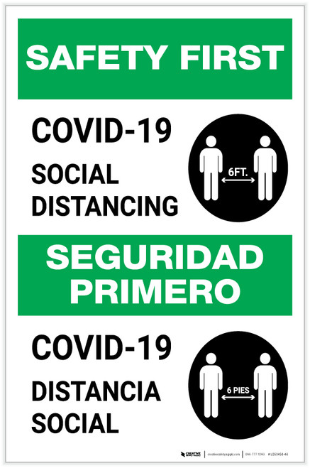 Safety First: COVID-19 Social Distancing Bilingual with Icon Portrait - Label
