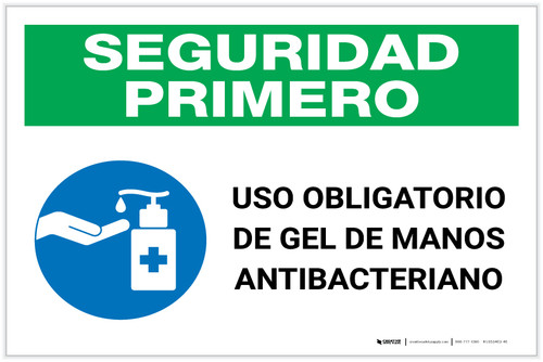 Safety First: Mandatory Use Of Anti-Bacterial Hand Gel Spanish With Icon Landscape - Label