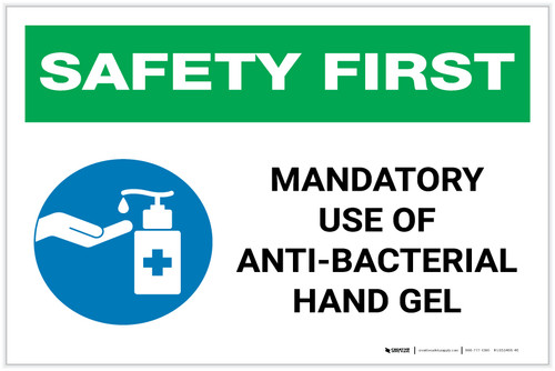 Safety First: Mandatory Use Of Anti-Bacterial Hand Gel with Icon Landscape - Label