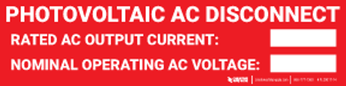 Photovoltaic AC Disconnect Label