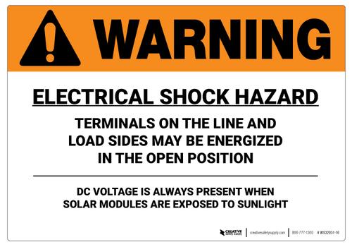 Warning: Electrical Shock Hazard/DC Voltage - Wall Sign