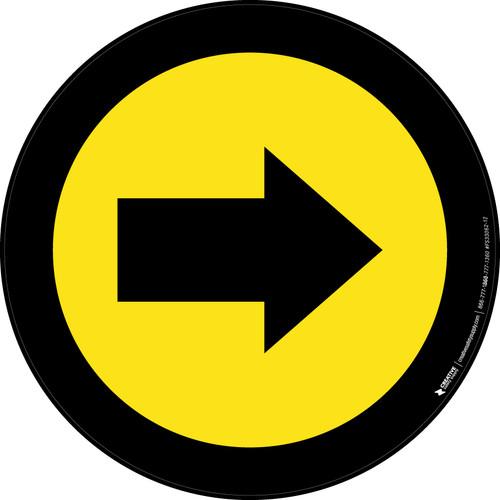 Right Arrow Yellow with Black Border Circular - Floor Sign