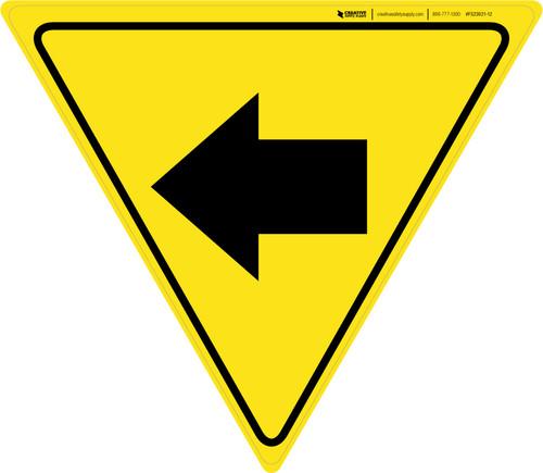 Left Arrow Yellow Yield - Floor Sign