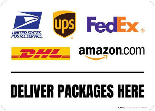 Deliver Packages Here with Logos v2 Landscape - Floor Sign