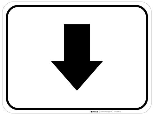 Down Arrow Black Rectangle - Floor Sign