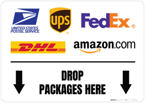 Drop Packages Here Down Arrows with Logos Landscape - Floor Sign