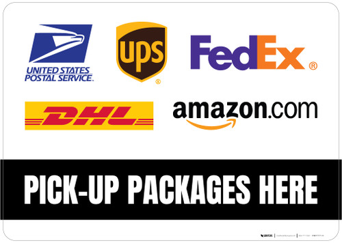 Pick-Up Packages Here with Logos Landscape - Floor Sign