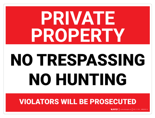 Private Property: No Trespassing/No Hunting - Wall Sign
