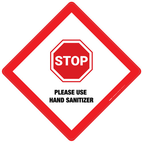 Stop: Please Use Hand Sanitizer - Placard Sign