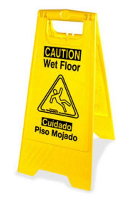 Genuine Joe Wet Floor Sign - 2 Sided Bilingual