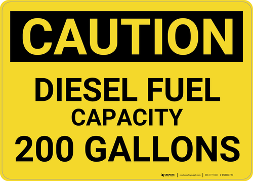 Caution: 200 Gallons - Wall Sign