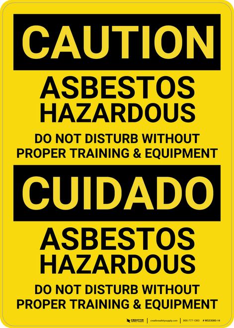 Caution: Asbestos Hazardous Bilingual (Spanish) - Wall Sign