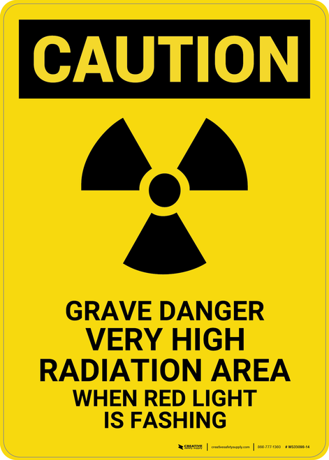Caution: Grave Danger Radiation - Wall Sign
