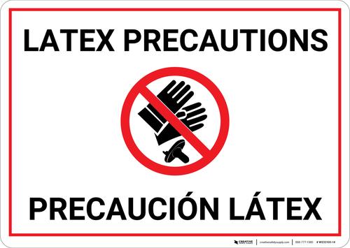 Caution: Latex Precaution Bilingual (Spanish) - Wall Sign