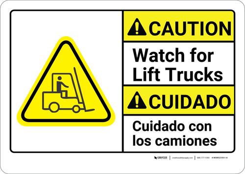 Caution: Lift Trucks Bilingual (Spanish) - Wall Sign