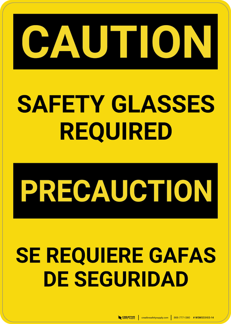 Caution: Safety Glasses Bilingual (Spanish) - Wall Sign