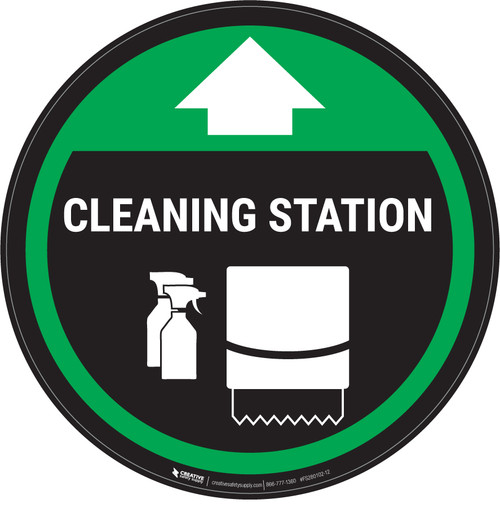 Cleaning Station Arrow With Icon Green - Circular - Floor Sign