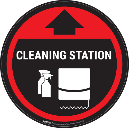 Cleaning Station Arrow With Icon Red - Circular - Floor Sign