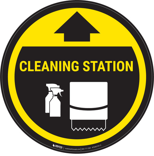Cleaning Station Arrow With Icon Yellow - Circular - Floor Sign