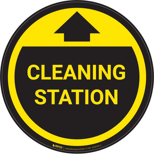 Cleaning Station With Arrow Yellow - Circular - Floor Sign