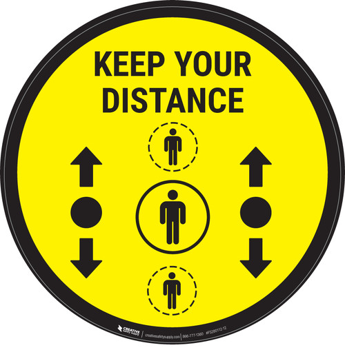 Keep Your Distance With Social Distance Dots Yellow - Circular - Floor Sign