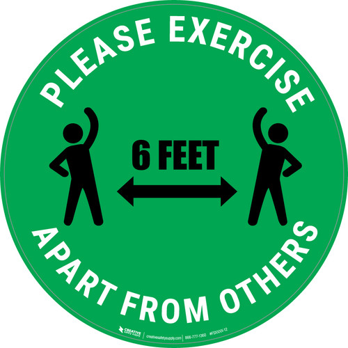 Please Exercise 6Ft Apart From Others With Icons Green - Circular - Floor Sign