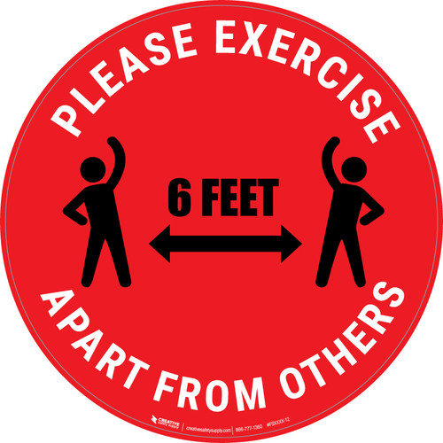 Please Exercise 6Ft Apart From Others With Icons Red - Circular - Floor Sign