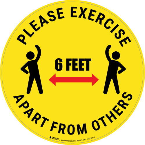 Please Exercise 6Ft Apart From Others With Icons Yellow - Circular - Floor Sign