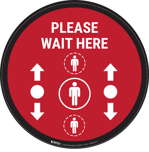 Please Wait Here With Social Distance Dots Red - Circular - Floor Sign
