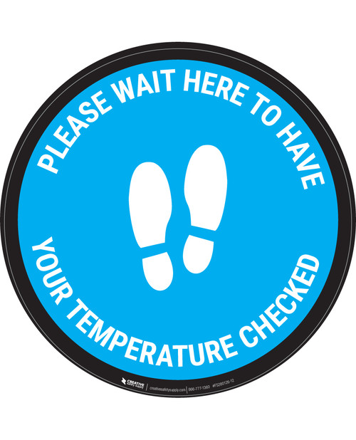 Please Wait Here Temperature Check With Icon Blue - Circular - Floor Sign
