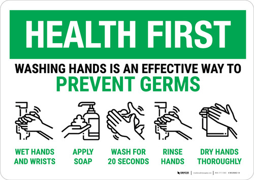Health First: Prevent Germs How To Wash Hands Landscape - Wall Sign